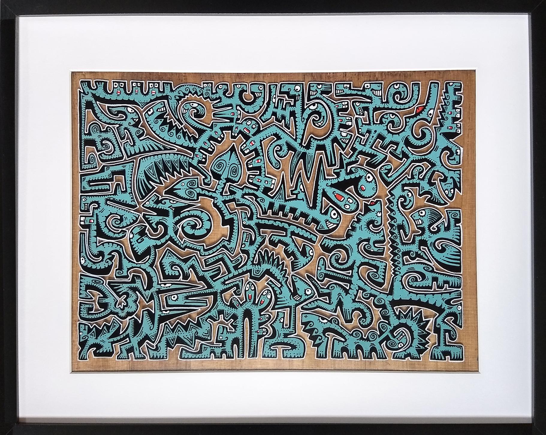 Titre : MT3/ feutres acrylique sur pvc transparent/fond papyrus antique/format avec cadre : 52.5/42 cm/ prix : 90 euros