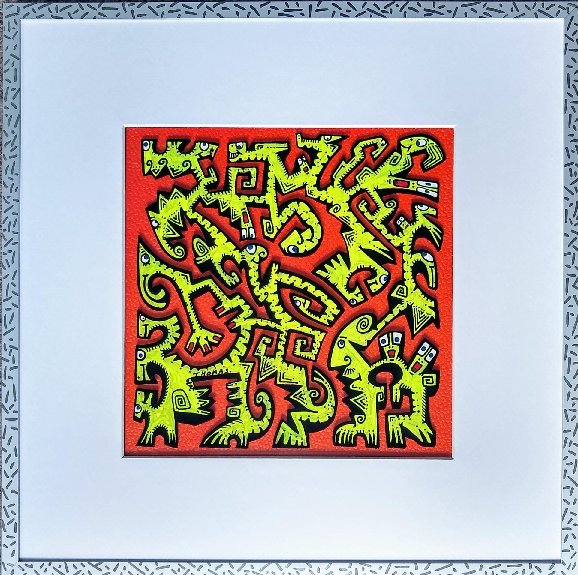 Titre : PT7/feutres acrylique sur verre synthétique/cadre aluminium gris et chrome/ fond papier effet cuir rouge/ format dessin : 19/19 cm/format du cadre: 33/33cm prix : 70 euros