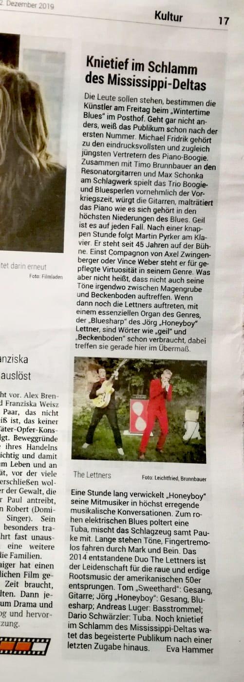 Kritik im Volksblatt, 2.12.19