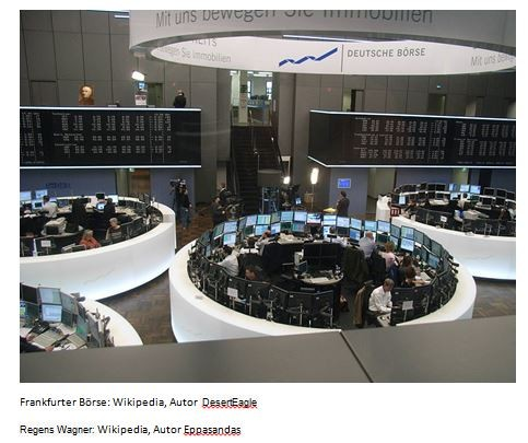 2 Bilder übereinander: Regens Wagner in der Frankfurter Börse. Kannst du ihn entdecken?