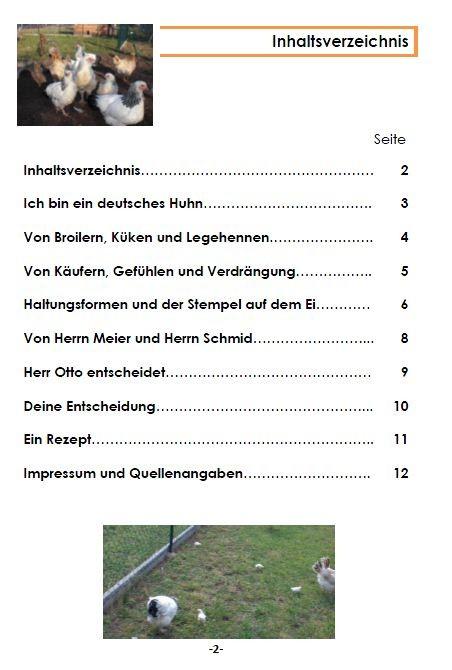 Broschüre Hähnchenhaltung, Inhaltsverzeichnis