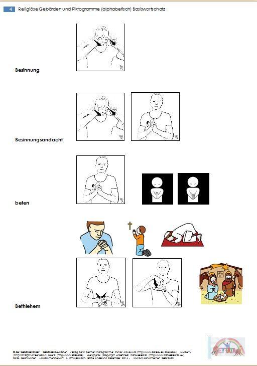 Religiöse Gebärden und Piktogramme - Basiswortschatz