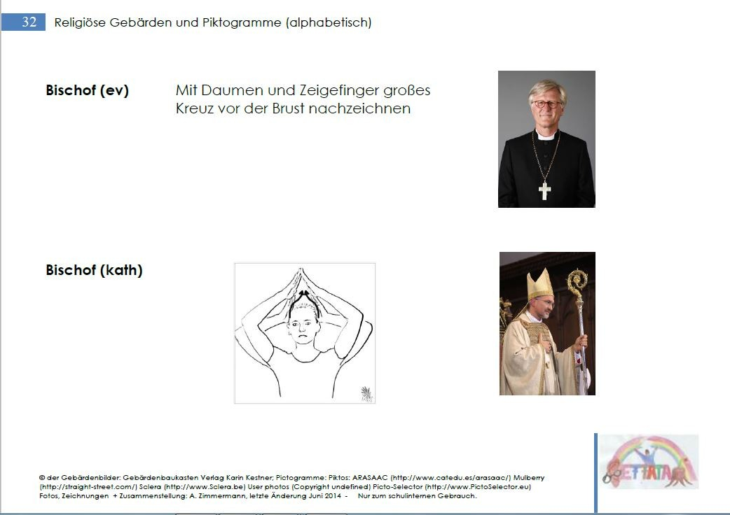Gebärden und Piktogramme für den Religionsunterricht, Ethik und Gottesdienste