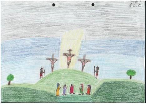 Zusammen mit zwei anderen Männern wird Jesus gekreuzigt. Soldaten, Frauen und Jesu Lieblingsjünger stehen dabei.