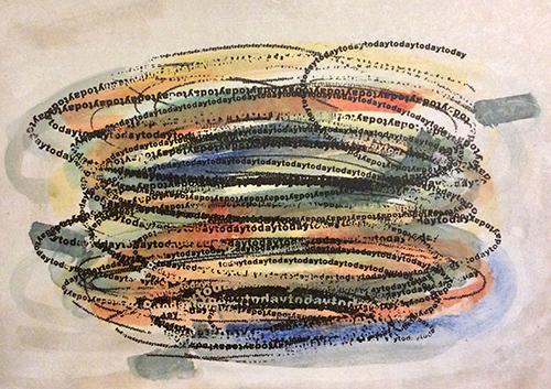"""""""Today"""", 2020. Tusche auf Holz, 40x50 cm."""