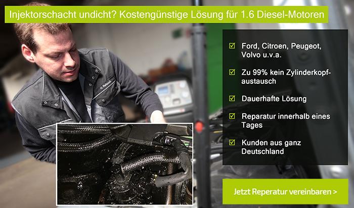 Injektorschacht undicht? Kostengünstige Lösung für 1.6 HDI Motoren von Ford, Citroen, Peugeot uva. Injektorschacht-Reparatur statt Zylinderkopfaustausch
