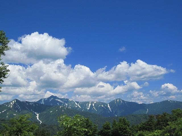 残雪残る初夏の朝日連峰