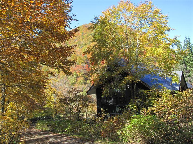 朝日鉱泉も秋色に染まる