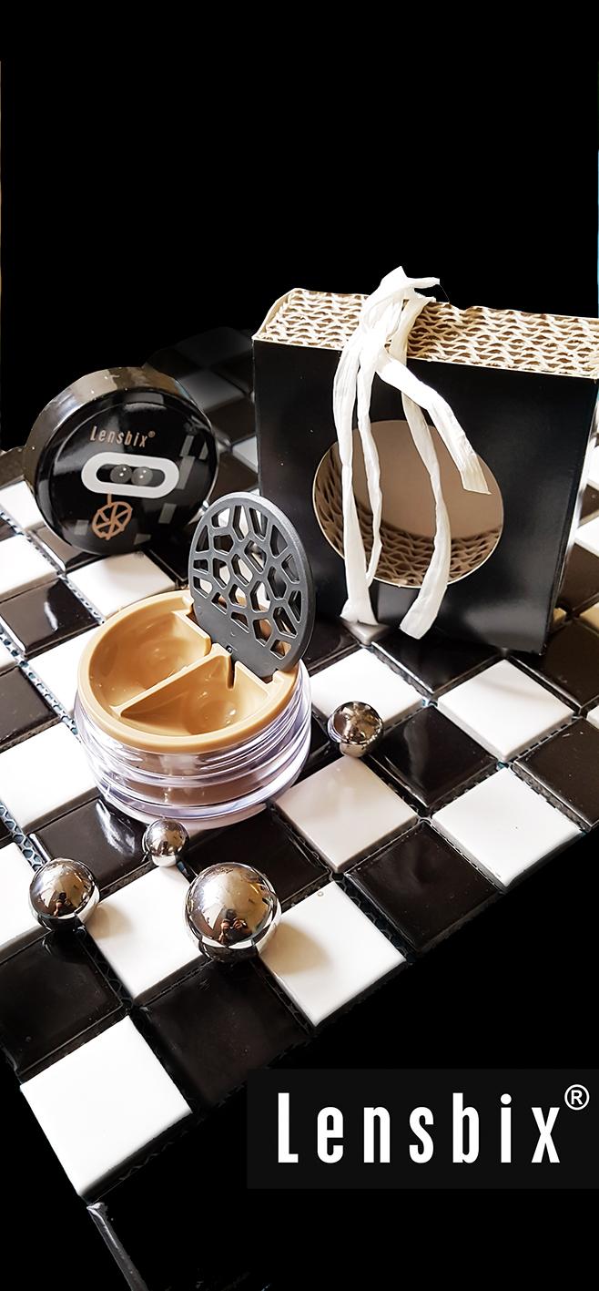 Überraschung in cappuccino / Kontaktlinsenbehälter / Kontaktlinsenbox / Behälter für  Kontaktlinsenaufbewahrung  in Geschenkverpackung