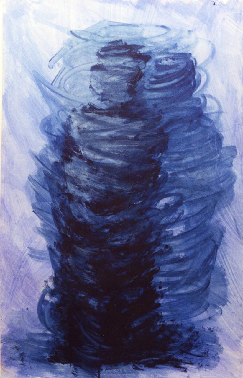 Mumie, Abwicklung beschattet, 62 cm x 98 cm, Gouache auf Papier,1996