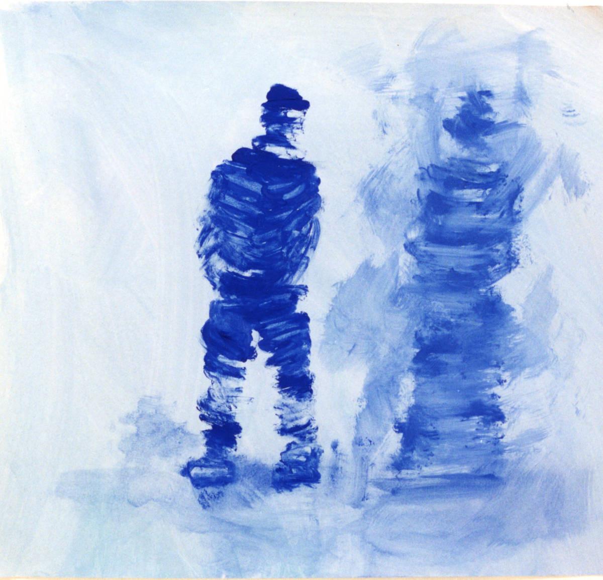 Mumie, Entwicklungsstadium Neugier, 62 cm x 58 cm, Gouache auf Papier,1996