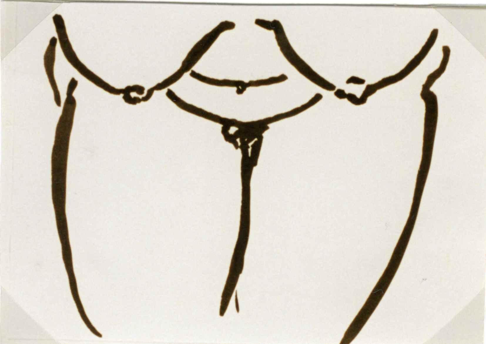 Selbstakt, Tusche auf Papier ,10,5 cm x 14,5 cm , 1995