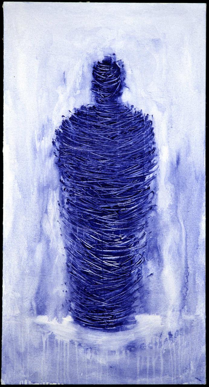 Mumie mit wässriger Aura, 150 cm x  80 cm , Acryl auf Leinwand, 1997