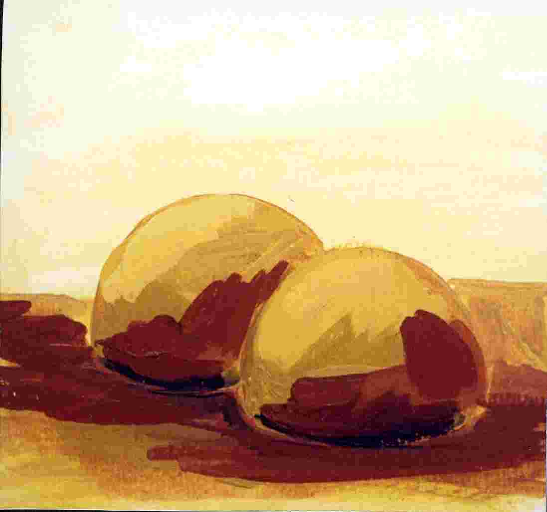 Hütte meiner Selbst, Öl auf Bütten, 12 cm x12 cm   R 25cm X 25 cm, 1999