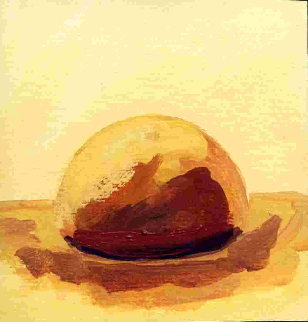 Hütte meiner Selbst, Öl auf Bütten, 12 cm x12 cm   R 25cm X 25 cm, 2000