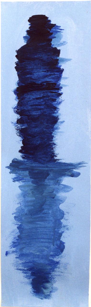 Mumie, Selbstspiegelung, 18 cm x 62 cm, Gouache auf Papier,1996