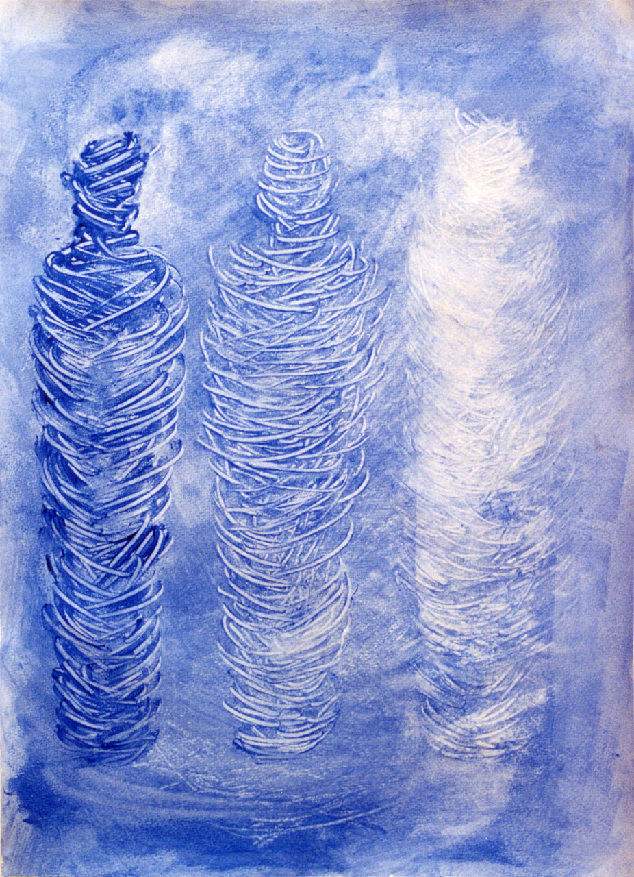 Trilogie der Mumien, Aurae und Augmentation, 44 cm x 66 cm, Gouache auf Papier,1996