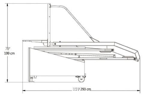 Spalding 2500 Portable Backstop Storage Position Footprint