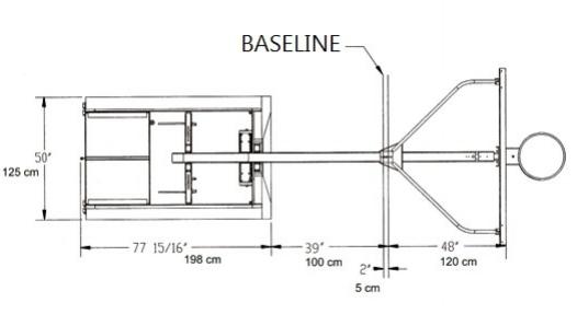 Spalding G7 Portable Backstop Top View Footprint