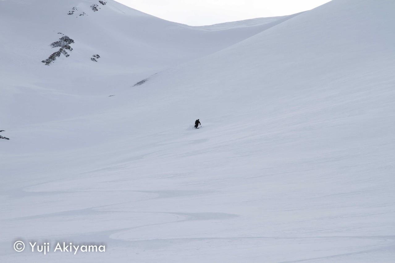 カナナスキス ロバートソン氷河を滑る