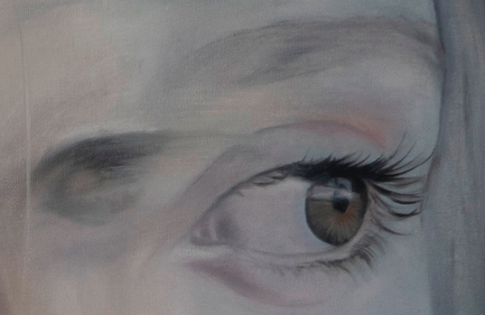 GIRL IN A MOMENT Detail · 2020 · oil on linen 100X100cm