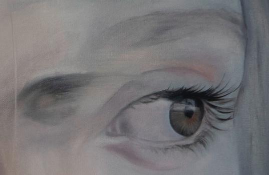 GIRL IN A MOMENT Detail · 2020 · oil on linen 100X100cm