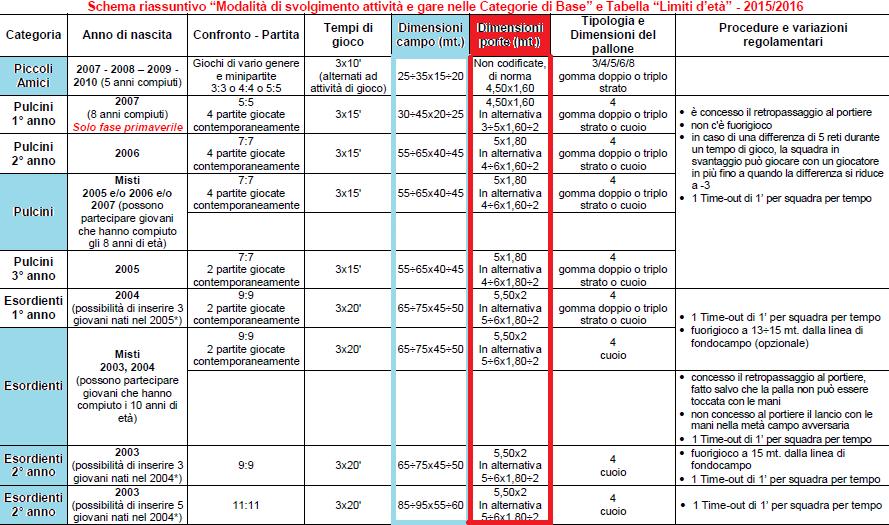 Scuole calcio le direttive figc 2015 16 su misure campo - Dimensioni della porta da calcio ...