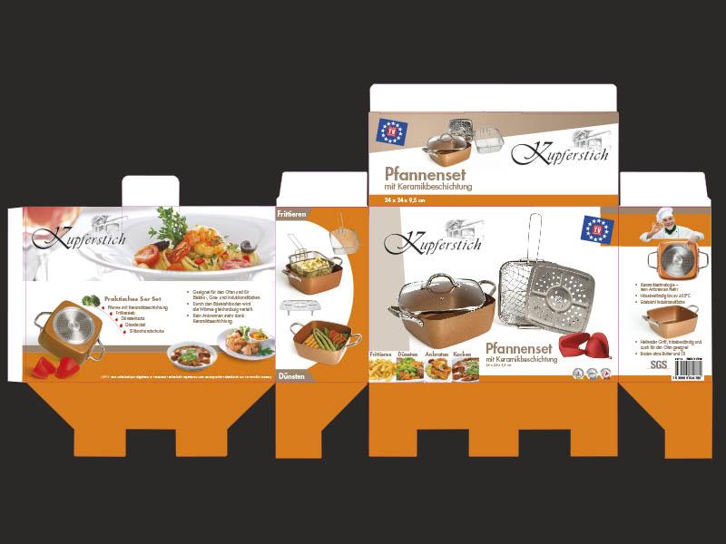 Umgesetzte Verpackung für Kupferstich Pfannenset