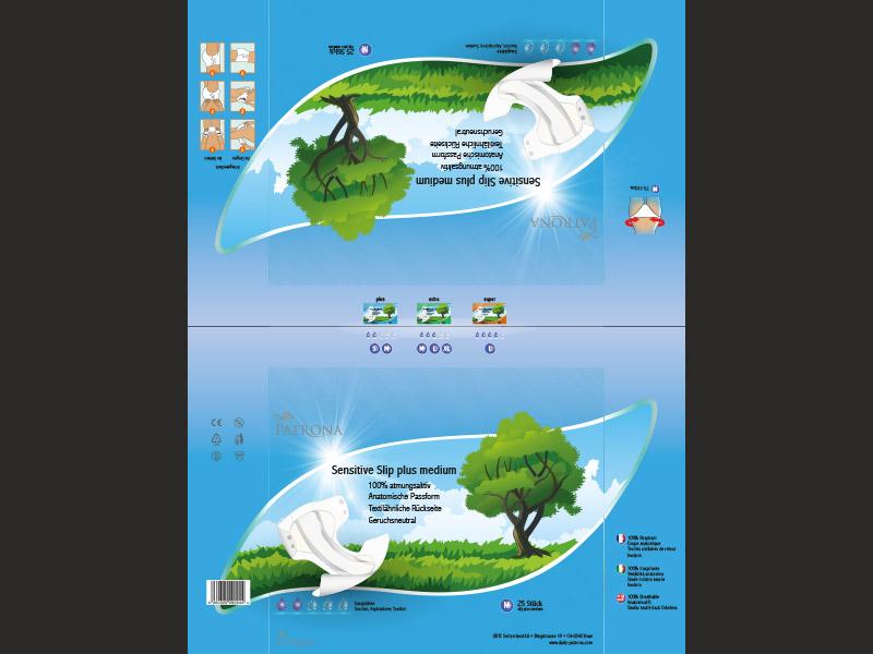 Daily Patrona Sensitive Slip — Variante 1 der Verpackungsgestaltung der Slip-Produktlinien