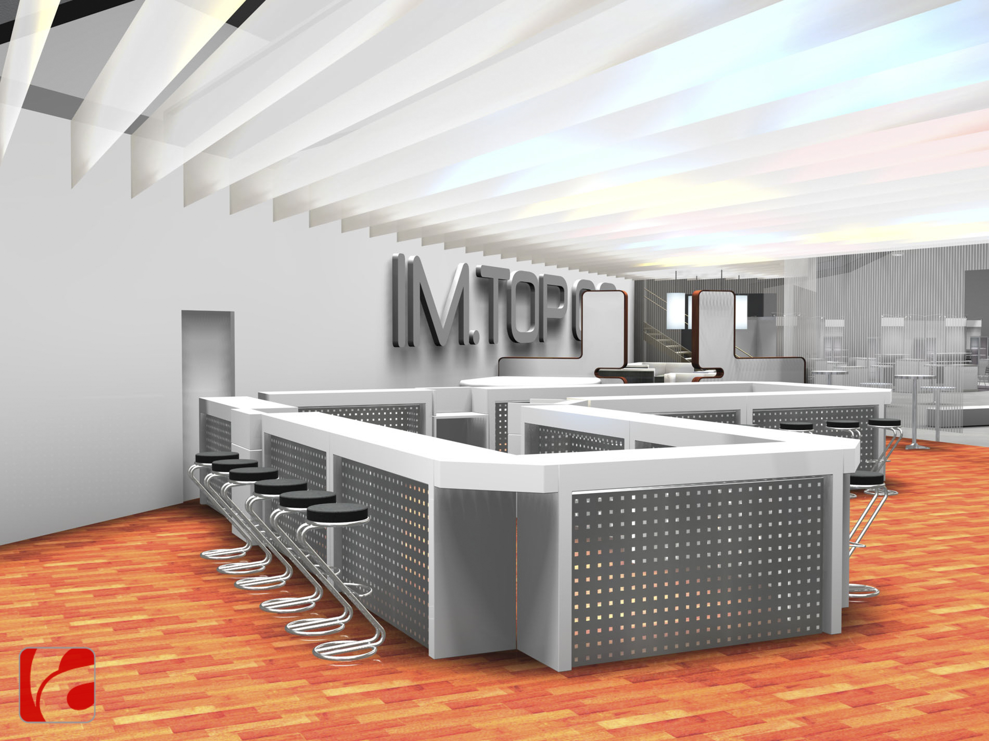 Lounge-Decke mit Stoff- oder Papierbahnen, farbig von oben beleuchtet