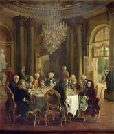 """""""La tablée de Frédéric II à Sanssouci"""", tableau d'Adolf von Menzel (p.46)"""