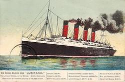 carte postale du Lusitania