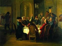 """Jean Huber, """"le Dîner des philosophes"""" (1772-1773)"""