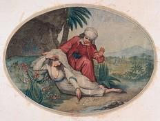 Gravure (1747) illustrant la scène de retrouvailles entre Zadig et Astartée (Bibliothèque nationale de France, Paris)