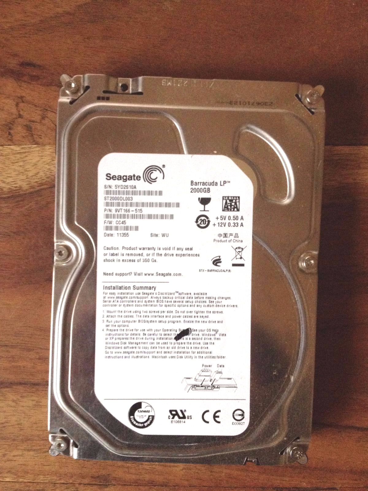Disque dur interne Seagate Barracuda reformaté, comme neuf,  2 TO, pour CHF 69.-- !