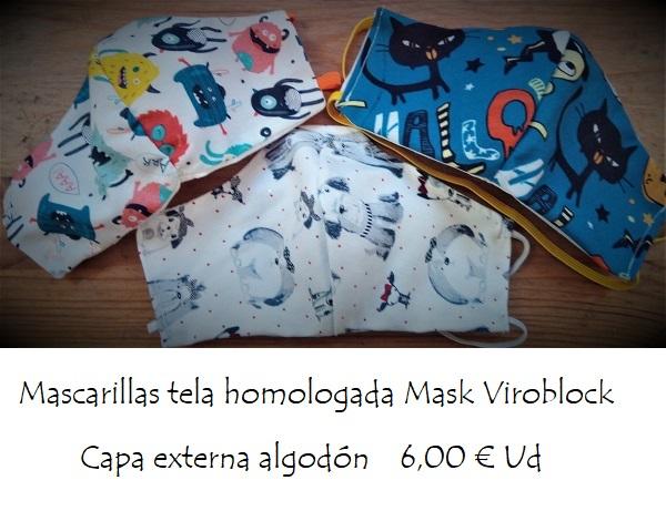Mascarillas tela homologada Mask Viroblock capa externa algodón
