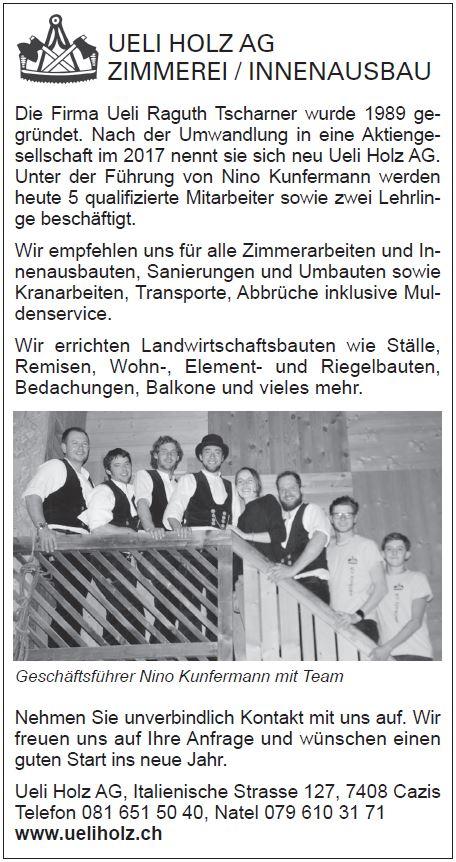 Bericht im Pöschtli vom 11.01.18