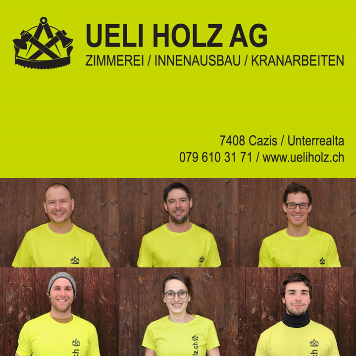 Nino Kunfermann, Cyrill Näf, Jann Tscharner, Reto Joos, Andrea Werthan-Reich, Bartolomé Walder