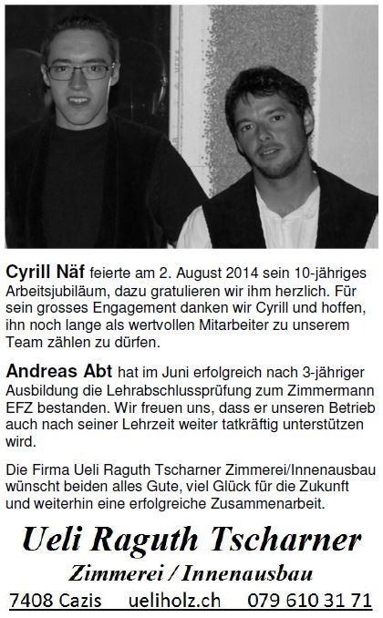 Cyrill Näf Andreas Abt Jubiäum Lehrabschluss