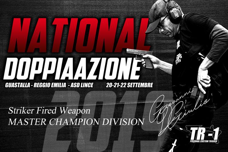 Giovanni DI Giulio Testimonial Ufficiale dello scatto TR-1, in questa foto, vince il National DoppiaAzione nel 2019 a Guastalla Reggio Emilia nella categoria Master diventanto Campione di Divisione nella categoria STW (Striker Fired Weapon).