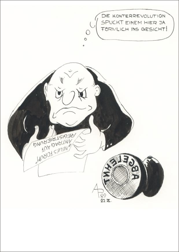 DDR 1989 - Antrag Neues Forum in der Hand und Abgelehntstempel