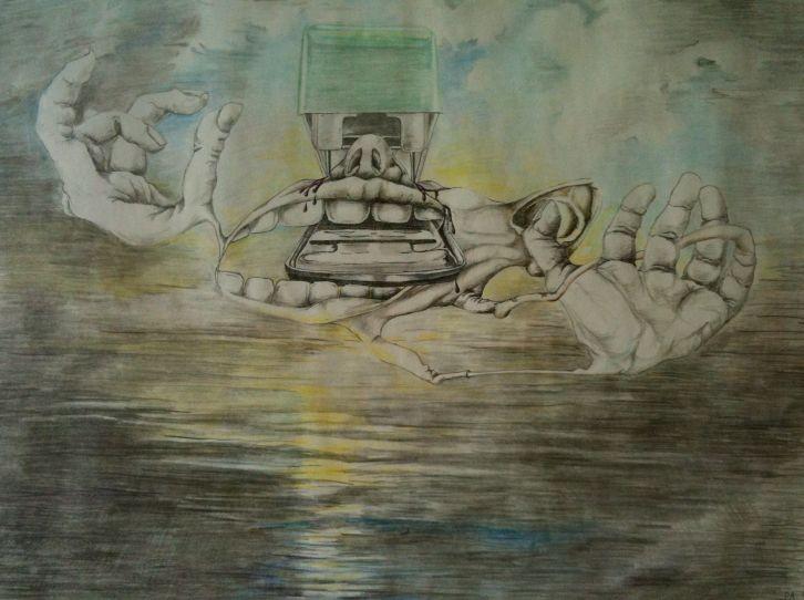 Schwebender Wahnsinn als Chimäre über dem Wasser Buntstift Zeichnung