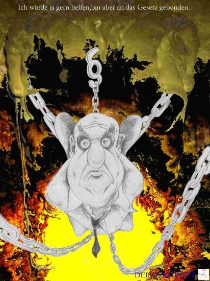 Zeichnung , Bürokratie , Grafik ,Paragraf ,  hängend gefesselt , Karikatur, Peter Albach