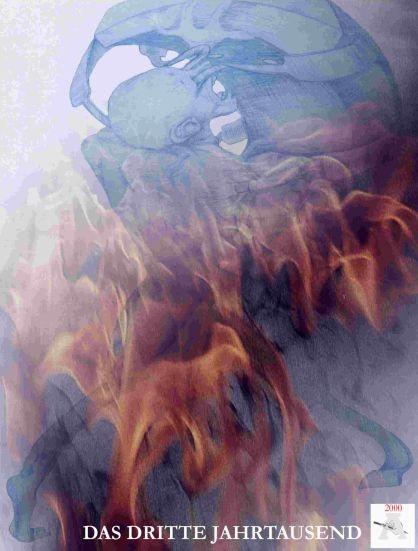 Ein Speicherchip drinkt in einen nachten Mensch ein, Chimäre und Feuer
