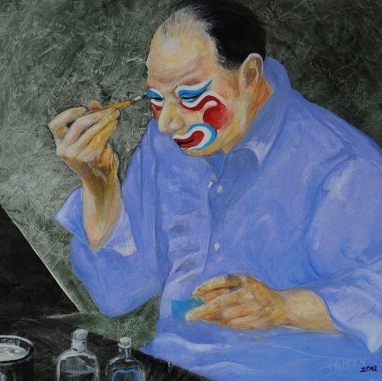 Peking , Zeichnung , Malerei , Grafik , Pekingoper , China , ein Mann beim anschminken, Schauspieler ,  Pinsel, Spiegel und Schminkgefäße