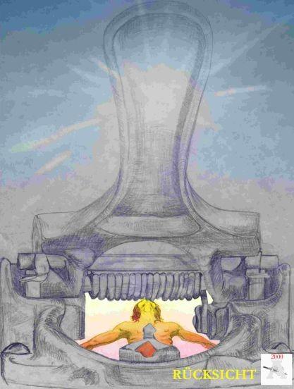 Locher , Grafik , Bürokratie , Karikatur , Zeichnung , männlichen Oberkörper , wehrloser Mensch im Angesicht der Bürokratie Bleistiftzeichnung und Buntstift , Peter Albach