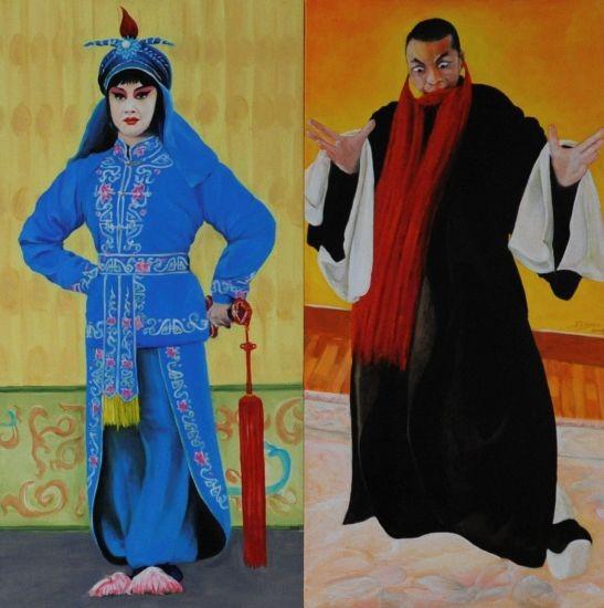 Peking , Zeichnung , Malerei , Grafik , Pekingoper , China ,  historisches Gewand , Schüler der Pekinkoper bei der Probe im schwarzen Gewand mit rotem Bart Gestik und Mimik sehr ausdrucksstark