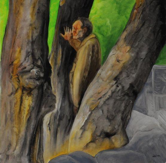 China, 2007, Alter Mann zwischen Bäumen zum Foto aufgestellt,  Peking , Zeichnung , Malerei , Grafik  ,  Xian ,