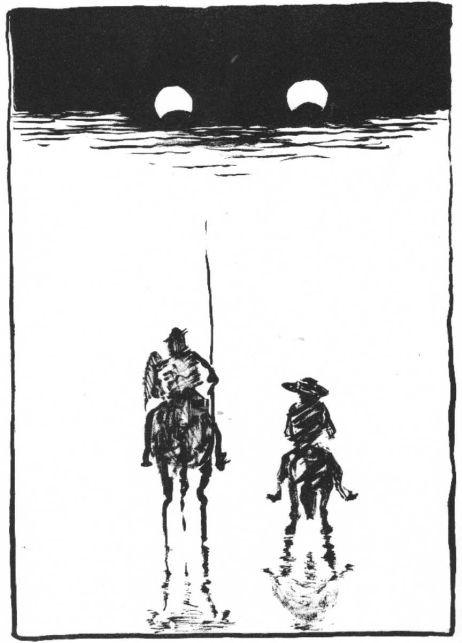 Auf dünnem Eis, Don Quijote und Sancho Panza, Druckgrafik