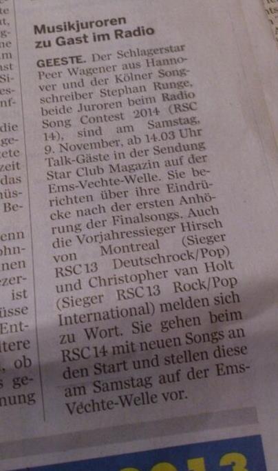 Tolle Ankündigung in der Presse für das StarClub Magazin am 09.11.2013 auf der Ems-Vechte-Welle mit Moderator Ingo Mertineit ...